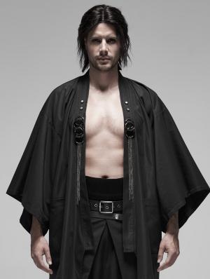 Black Gothic Punk Metal Warrior Japanese Coat for Men