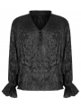 Black Gothic Pleated Long Sleeve Loose Shirt for Men