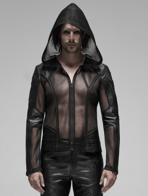 Black Gothic Punk Mesh Hoodie for Men