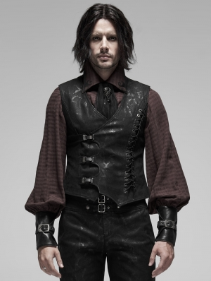 Black Gothic Steampunk Buckle Vest for Men