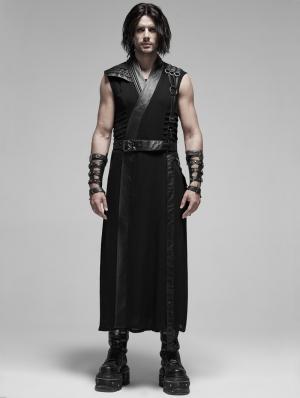 Black Gothic Punk Japanese Warrior Long Vest for Men