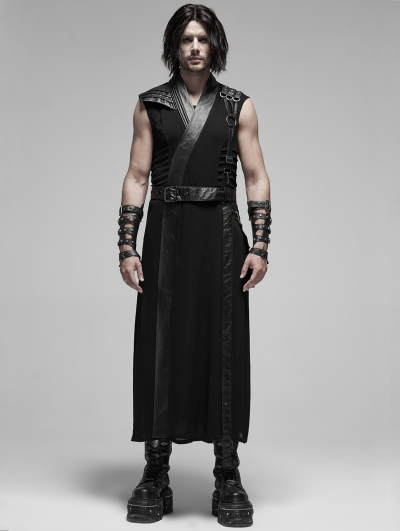 Black Gothic Punk Japanese Warrior Long Vest for Men