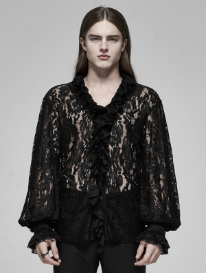 Black Retro Gothic Transparent Lace V-Neck Shirt for Men