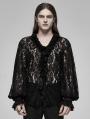 Black Retro Gothic Transparent Lace V-Neck Shirt for Men