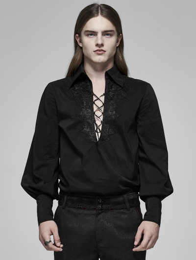 Black Gothic Fire Dragon Long Sleeve Shirt for Men