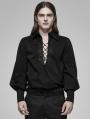 Black Gothic Fire Dragon Long Sleeve Shirt for Men