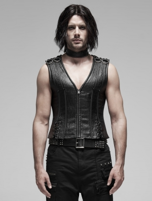 Black Gothic Punk Metal Vest Top for Men