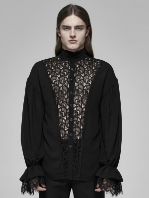 Black Vinatge Gothic Rococo Transparent Lace Long Sleeve Shirt for Men