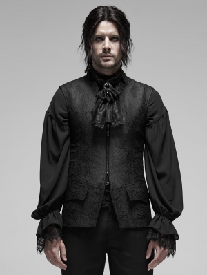 Black Vintage Gothic Rococo Jacquard Vest for Men