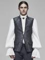 Grey Vintage Gothic Rococo Jacquard Vest for Men