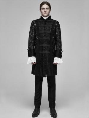 Black Vinatge Gothic Palace Transparent Lace Jacquard Long Coat for Men
