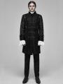 Black Vintage Gothic Palace Transparent Lace Jacquard Long Coat for Men