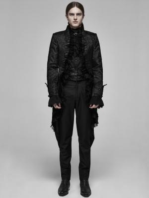Black Retro Gothic Rococo Lace Tuxedo Coat for Men