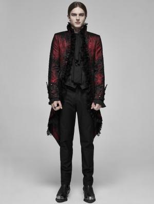 Red Retro Gothic Rococo Lace Tuxedo Coat for Men