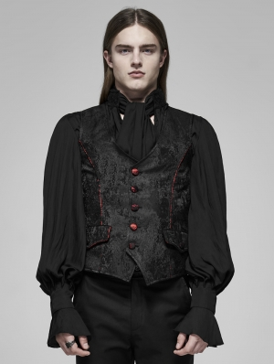 Black and Red Vintage Gothic Rococo Dark Print Vest for Men