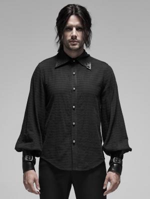 Black Steampunk Appliqued Long Sleeve Shirt for Men
