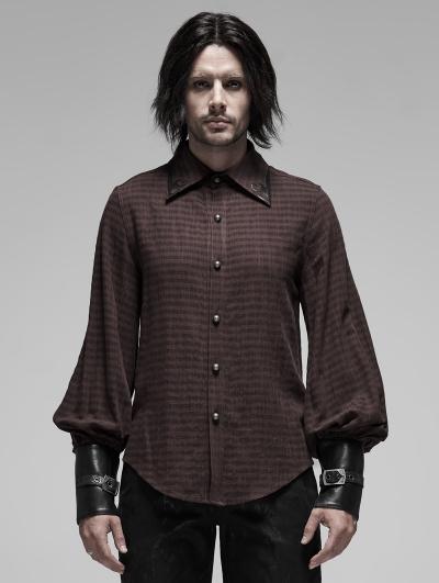 Brown Steampunk Appliqued Long Sleeve Shirt for Men