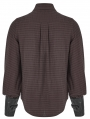 Brown Steampunk Appliqued Long Sleeve Shirt for Men