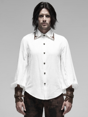 White Steampunk Appliqued Long Sleeve Shirt for Men