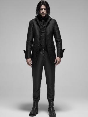 Black Vintage Gothic Rococo Jacquard Coat for Men