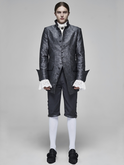 Grey Vintage Gothic Rococo Jacquard Coat for Men