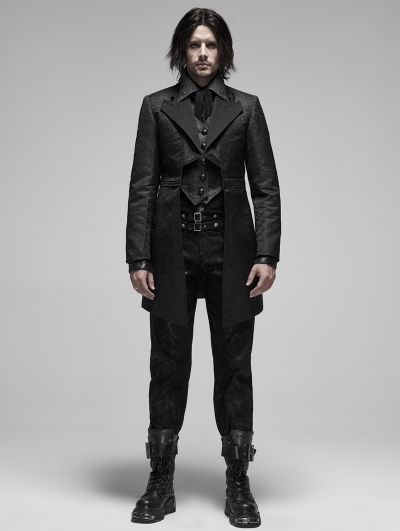 Black Retro Gothic Fake Two-Pieces Jacquard Tuxedo Coat for Men
