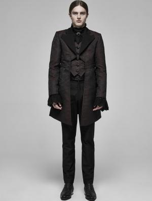 Brown Retro Gothic Fake Two-Pieces Jacquard Tuxedo Coat for Men