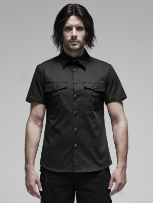 Black Gothic Punk Metal Short Sleeve Shirt for Men