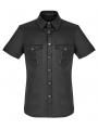 Black Gothic Punk Metal Short Sleeve Shirt for Men