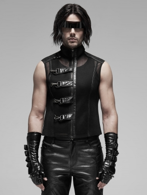 Black Gothic Punk Transparent Mesh Vest Top for Men