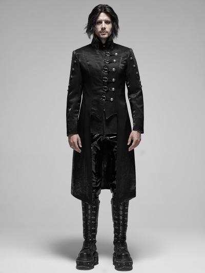 Black Gothic Punk Metal Long Trench Coat for Men