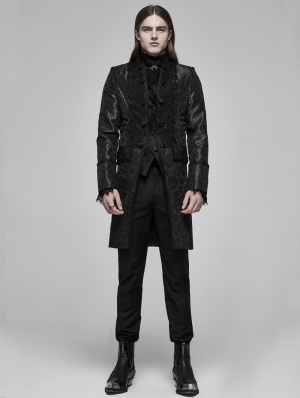 Black Vintage Gothic Palace Jacquard Long Tailcoat for Men