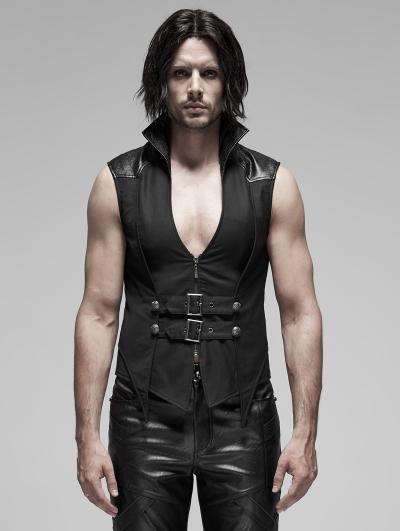 Black Gothic Punk Stand Collar False Two-Pieces Vest for Men