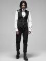 Black Stripe Gothic Punk Stand Collar False Two-Pieces Vest for Men