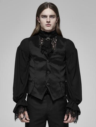 Black Vinatge Gothic Palace Satin Vest for Men