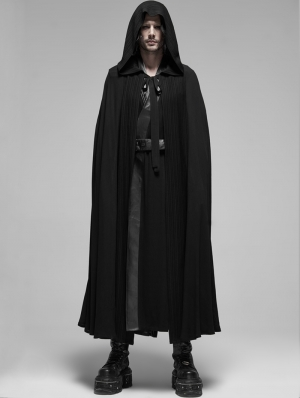 Black Gothic Cotton Long Hooded Cloak for Men
