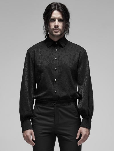 Black Retro Gothic Long Sleeve Jacquard Shirt for Men