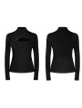 Black Gothic Punk Street Fashion Hollow-out Long Sleeve T-Shirt for Women