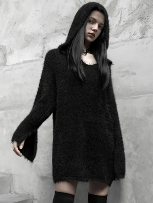 Black Gothic Street Fashion Long Hooded Sweater for Women