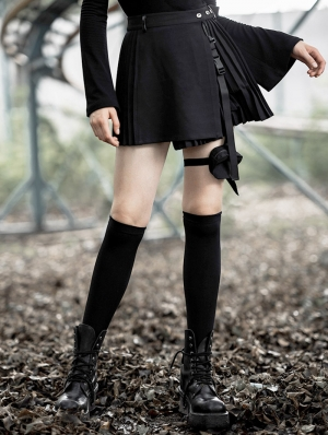 Black Street Fashion Gothic Punk Short Skirt with Detachable Bag
