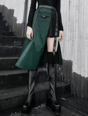 Black and Green Gothic Punk Street Fashion Irregular Pleated Skirt