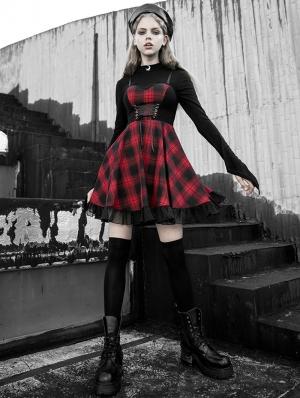 Black and Red Plaid Gothic Street Fashion Short Dress