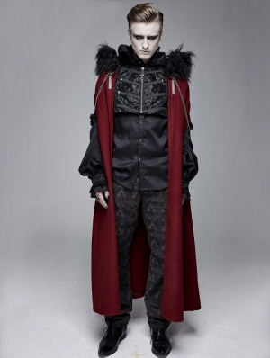 Black and Red Vintage Palace Jacquard Gothic Long Cape for Men