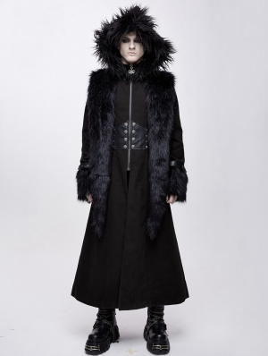 Black Gothic Military Style Fur Winter Warm Long Coat for Men