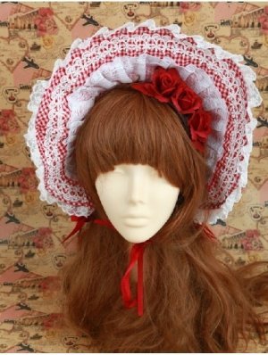 White and Red Lace Flower Sweet Lolita Headdress