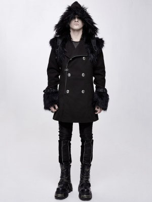 Black Men's Gothic Punk Winter Hooded Coat with Detachable Shoulder Accessory