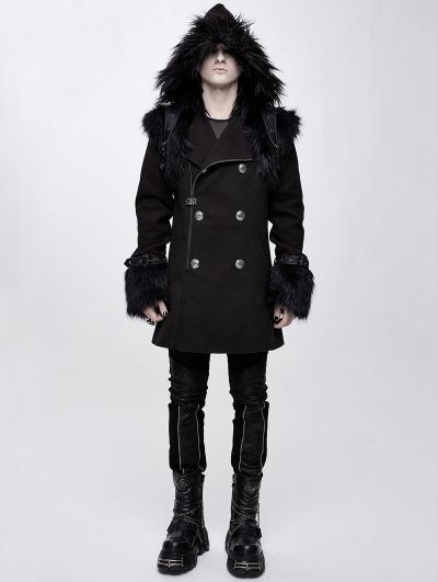 Black Men's Gothic Punk Winter Hooded Coat with Detachable Shoulder Accessory