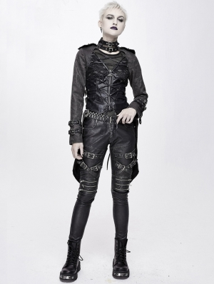 Black Women's Gothic Punk Metal Jacket with Detachable Skirt Hem
