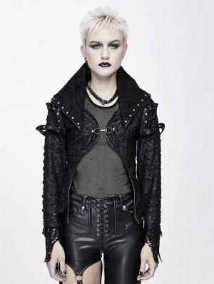 Black Gothic Punk Rivet Short Jacket for Women