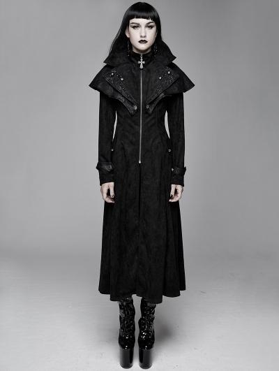 Black Vintage Gothic Rivet Long Cape Design Coat for Women